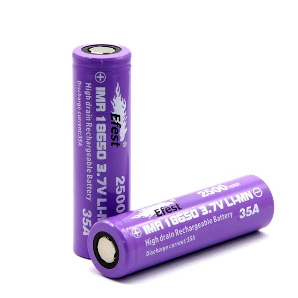 2 Efest IMR 18650 2100mah with flat top